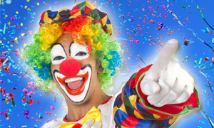 Clown in Ein Fest der haptischen Werbung: Karneval
