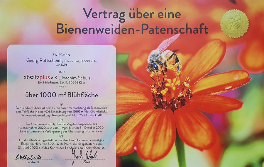 Vertrag über eine Bienenweiden-Patenschaft