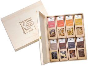 8 Snacks in der Birkenholzbox als Werbeartikel