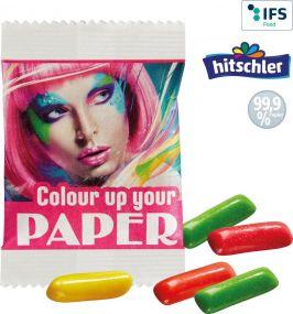 Mini HITSCHIES Kaubonbons Mix im Papiertütchen als Werbeartikel