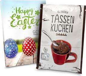 Tassenkuchen in individueller Stecktasche als Werbeartikel