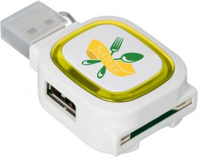 USB-Hub mit 2 Anschlüssen Reflects Collection 500 als Werbeartikel