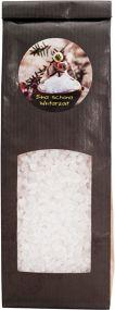 Badesalz mit Kamillenblüten im Blockbodenbeutel mit Etikettendruck als Werbeartikel