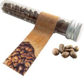 Reagenzglas mit Kaffeebohnen als Werbeartikel