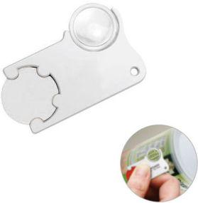 Chiphalter mit 1€-Chip und Lupe als Werbeartikel