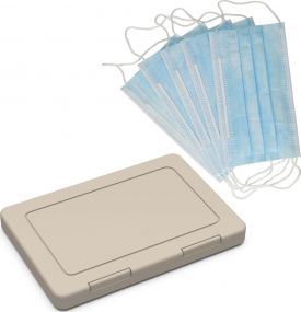 Maskenbox Hygiene Einweg, inkl. 5 Einwegmasken als Werbeartikel