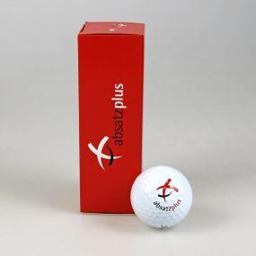3er Golfball Verpackung, außen individuell gestaltet als Werbeartikel