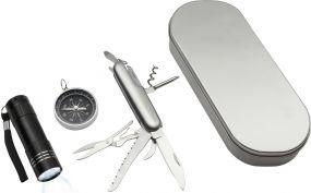 Outdoorset Kompass Messer Reflects als Werbeartikel