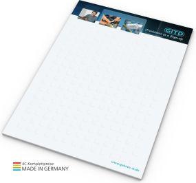 Schreibblock A6, 25 Blatt als Werbeartikel