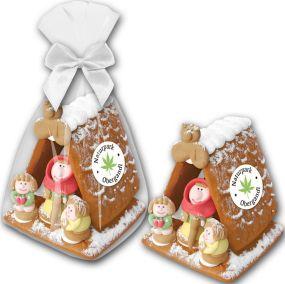 Lebkuchenhaus midi Zuckerhexe als Werbeartikel