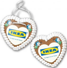 Lebkuchenherz Größe 4 mit Herzpapieraufleger als Werbeartikel