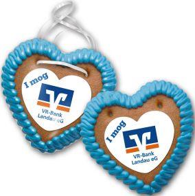 Lebkuchenherz Größe 25 mit Herz-Marzipanaufleger als Werbeartikel