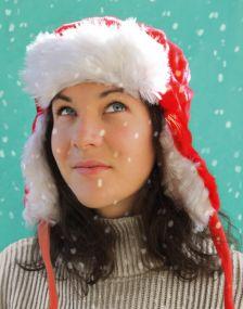Kinder Weihnachtsmütze mit Plüsch als Werbeartikel