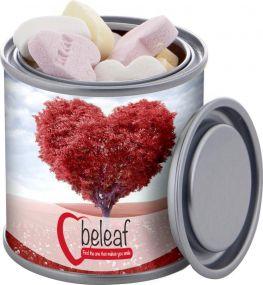 Mini Farbdose Frucht Herzen als Werbeartikel