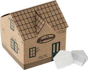 Haus mit Pfefferminz aus Kraftpapier als Werbeartikel