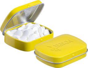 Mini Klappdeckeldose Pfefferminz als Werbeartikel
