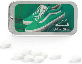 Flat Box Pfefferminz zuckerfrei, Druck als Werbeartikel