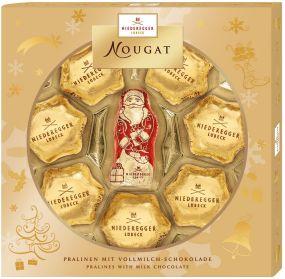 Nougat Weihnachtssterne und Weihnachtsmann als Werbeartikel
