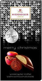 Winterapfel-Trüffel Weihnachtsschokolade als Werbeartikel