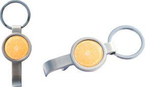 Schlüsselanhänger Roundbottle mit Flaschenöffner als Werbeartikel