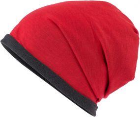 Lässige Mütze mit Fleece-Kontrastabschluss als Werbeartikel