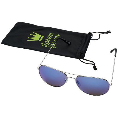Sonnenbrille Aviator mit farbigen Spiegelgläsern als Werbeartikel