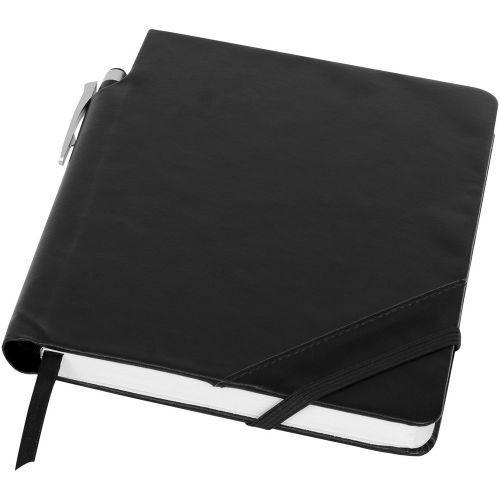 Patch the Edge Notizbuch mit Kugelschreiber als Werbeartikel