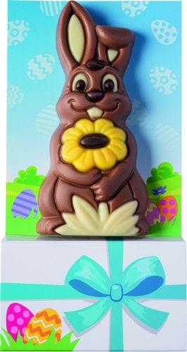 Schoko-Osterhase mit Blume als Werbeartikel