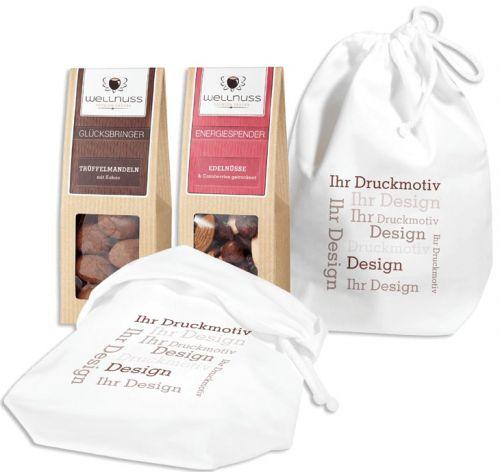 2 Premium Snacks im Baumwollsäckchen als Werbeartikel