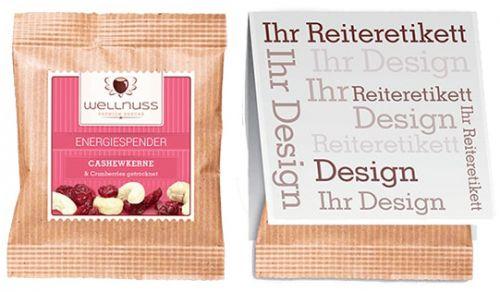 Premium Flowpack mit Reiteretikett als Werbeartikel