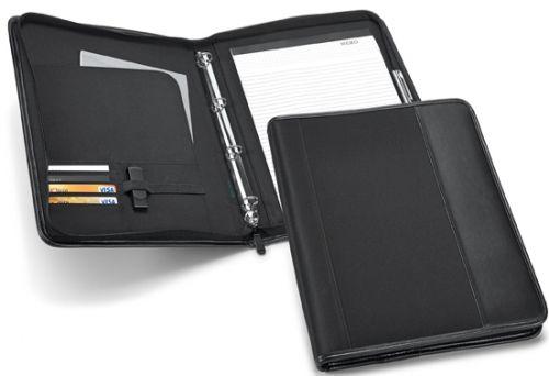 CHRISTIE A4 Schreibmappe mit 4 Ringmechanik aus Lederimitation und Mikrofaser als Werbeartikel