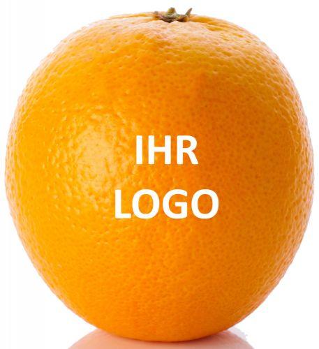 Orange mit Logo als Werbeartikel