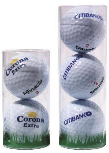 1er, 2er, 3er Golfball Plastik-Tube als Werbeartikel
