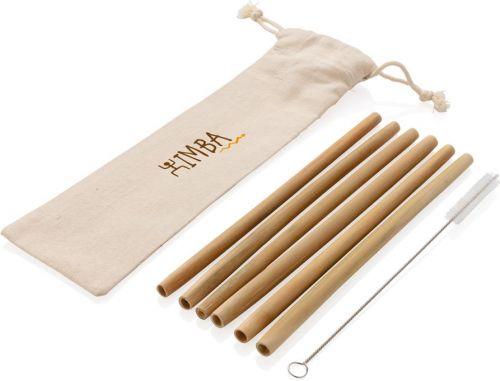 Wiederverwendbares Bambus Trinkhalm-Set 6-tlg als Werbeartikel