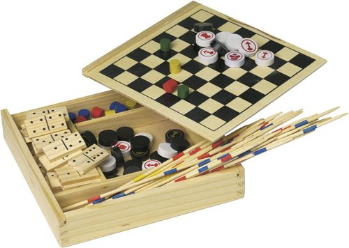 Spielset Fun in Holzbox als Werbeartikel