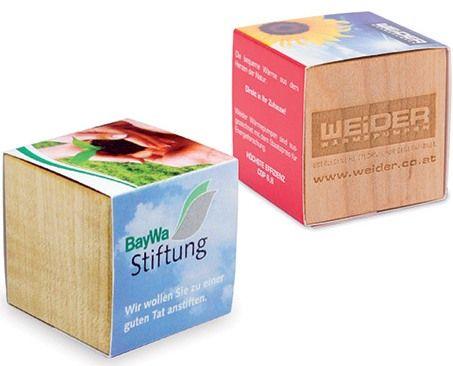 Pflanz-Holz, mit Druck und/oder Lasergravur als Werbeartikel