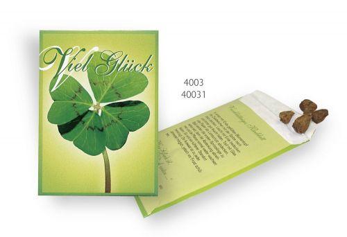 Samentütchen Viel Glück Glückskleezwiebelchen 82x114 mm als Werbeartikel