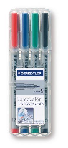 STAEDTLER Lumocolor non-permanent S, Box mit 4 Stiften als Werbeartikel