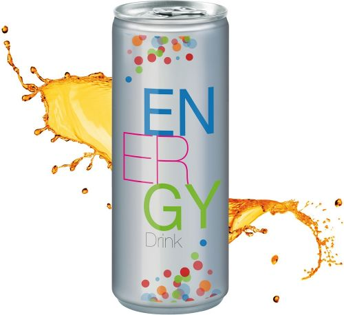 Energy Drink in der Dose, No Label Look (Alu Look) (pfandfrei, Export) als Werbeartikel