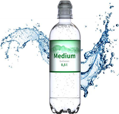 Quellwasser, 500 ml, medium (Sportcap) als Werbeartikel