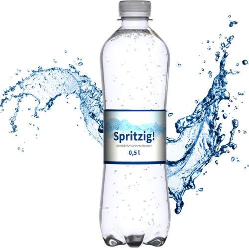 Mineralwasser, 500 ml, spritzig (Flasche Slimline) als Werbeartikel