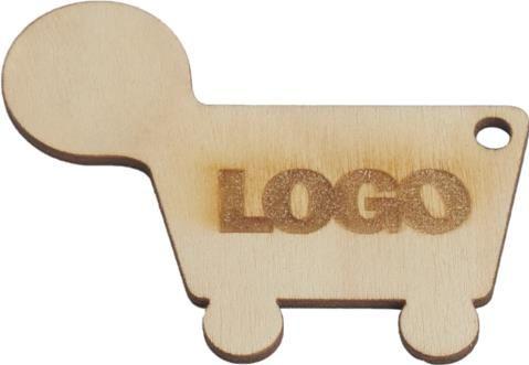 Holz-Einkaufswagenchip mit Gravur als Werbeartikel
