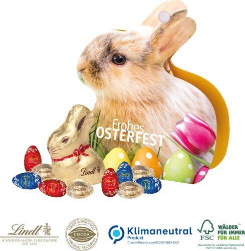 Werbe-Hase mit Lindt Schokoladenmischung als Werbeartikel