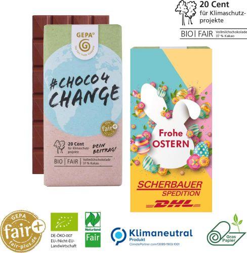 Choco4Change Vollmilchschokolade, 100 g, Graspapier als Werbeartikel