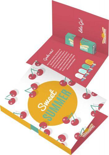 Faltkarte mit Pfefferminzriegel als Werbeartikel
