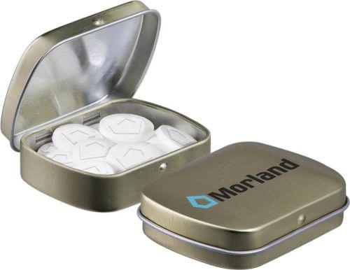 Mini Klappdeckeldose mit Logo Pfefferminz als Werbeartikel