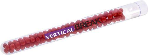 Reagenzgläschen mit farbigen Perlen als Werbeartikel