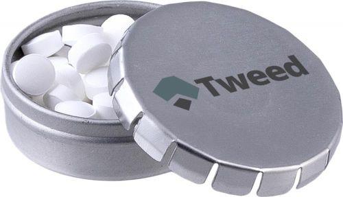 Micro Mini Klick-Klack Dose Pfefferminz als Werbeartikel