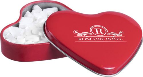Herzförmige Dose mit Pfefferminz als Werbeartikel