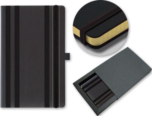 STRIPES CLASSIC Notizbuch mit Gummiband 130x210mm als Werbeartikel
